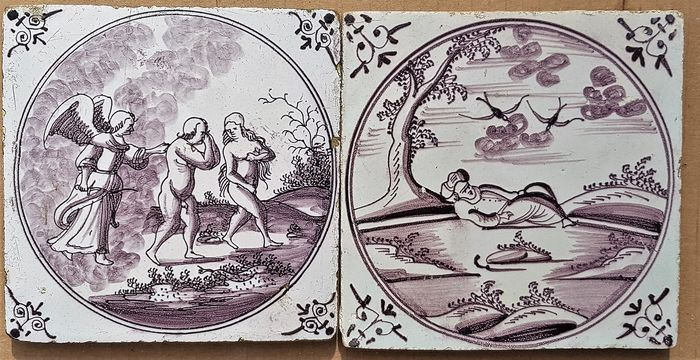 2 antique tiles with Biblical representation (2) - Earthenware