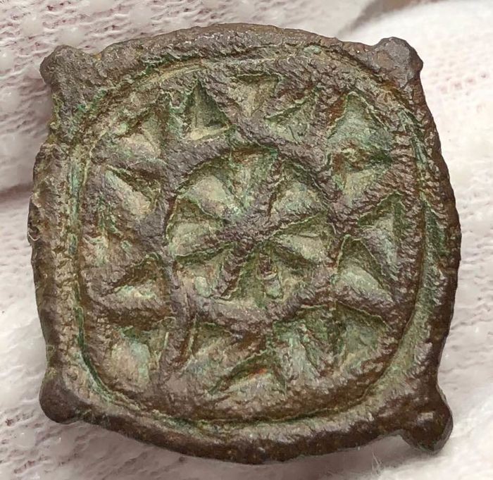 Ancient Roman Bronze Brooch Fibula with an Astrological signs- The Sun and a Star inside.