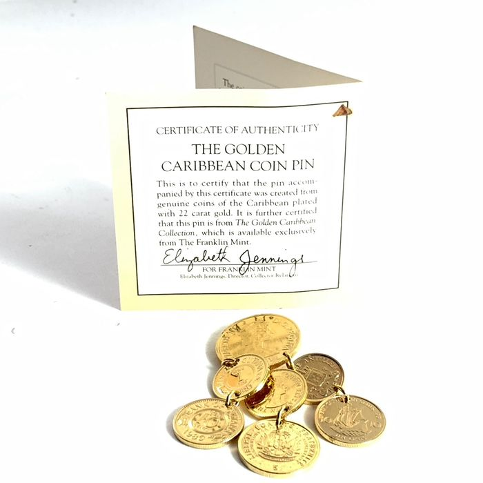 Franklin Mint - The Golden Caribbean Coin Pin - 22 carat gold plated with certificate of authenticity (COA)