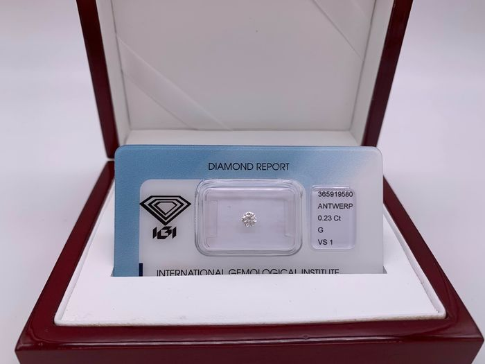1 pcs Diamond - 0.23 ct - Brilliant, Round - G - VS1