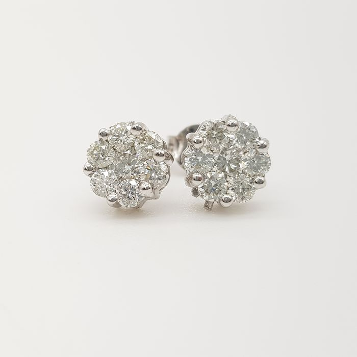 HRD Certificate - no reserve price - 18 kt. White gold - Earrings - 1.15 ct Diamond
