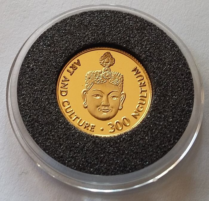 Bhoutan - 300 Ngultrum (Rupee) 1997 Dancing Mask Art and Culture - 1/25 oz - Or