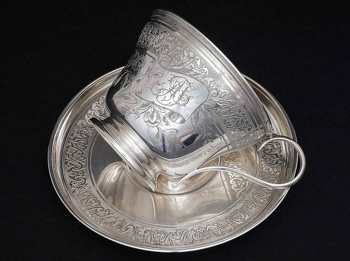 Large Cup with Saucer for Chocolate - .950 silver - J.Granvigne  - France - c.a 1900