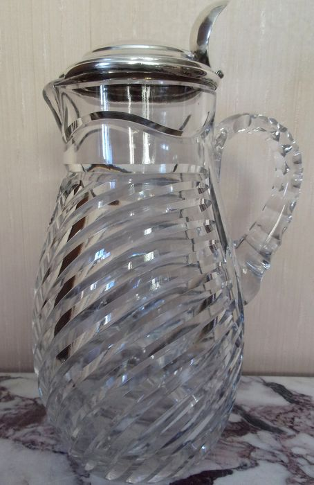 pitcher or pitcher - Crystal, Silverplate