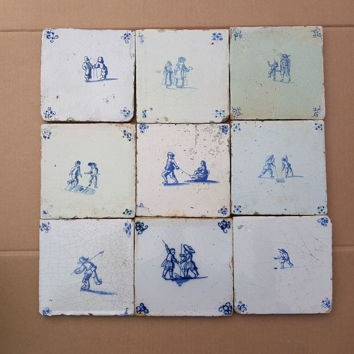 Lot of 9 antique tiles with children's games (9) - Earthenware