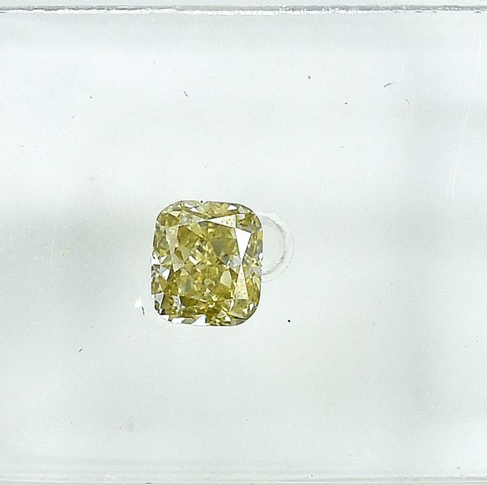 Diamant - 0.37 ct - Coussin - Natural Fancy Intense Yellow - VS2 - NO RESERVE PRICE