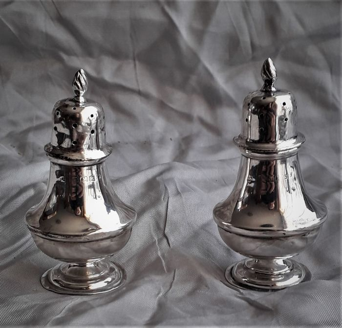 Antique silver pepper and salt set England - .925 silver - U.K. - Early 20th century