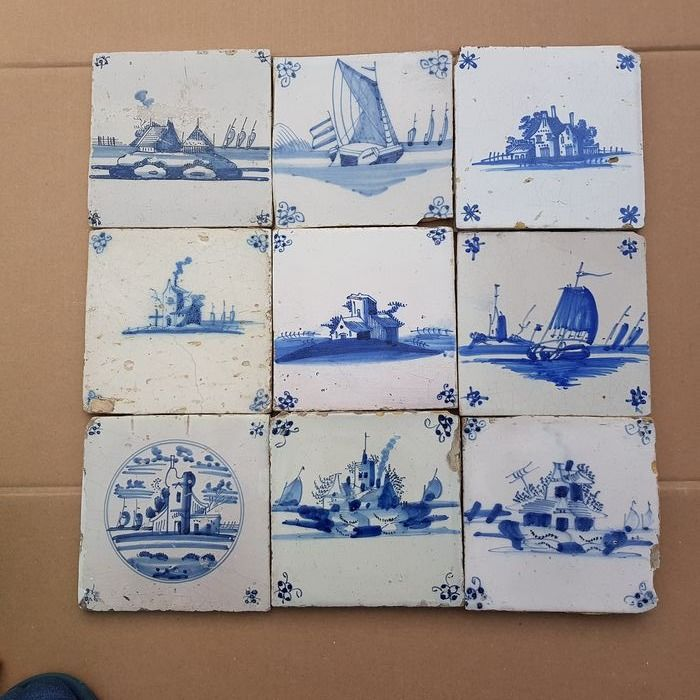 lot of 9 antique tiles with landscapes (9) - Earthenware