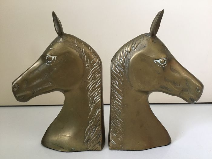 Brass horse heads - bookends - Brass