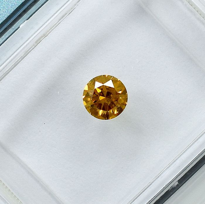 Diamant - 0.24 ct - Brillant - Natural Fancy Intense Orangy Yellow - Si1 - NO RESERVE PRICE
