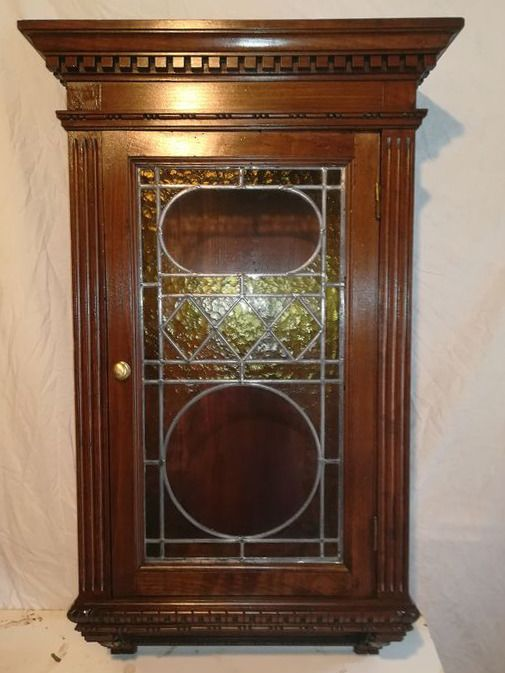 Cupboard, Small cabinet with shelves, door with leaded glass - Wood