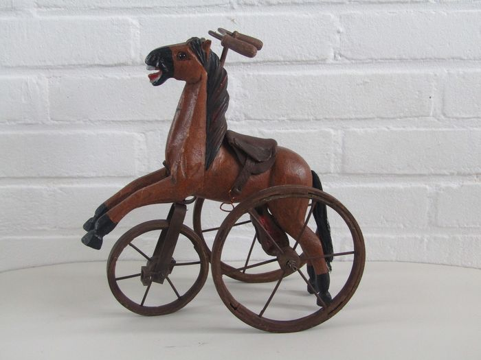 Antique cast iron tricycle horse - Cast iron, wood, leather