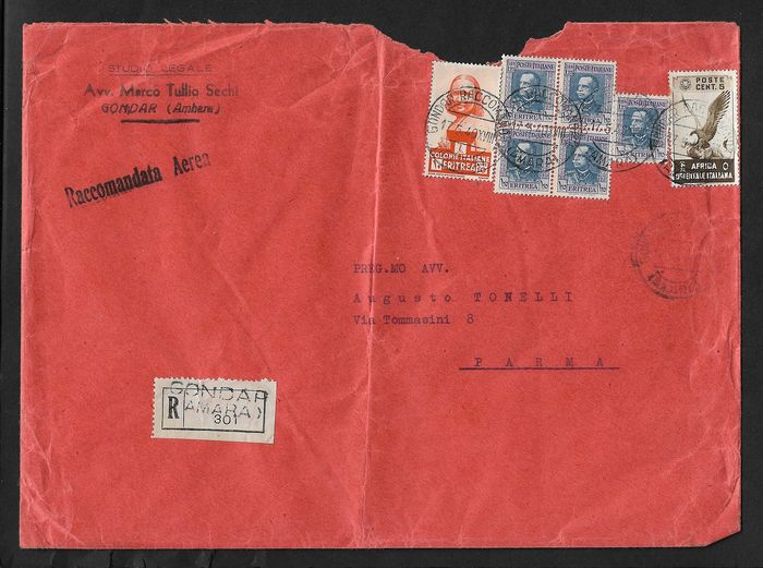 Italy - Colonies (general issues) 1938 - Airmail registered letter from Gondar (Asmara) to Parma, franked with 10 lire AOI and additional - Sassone AOI N. 19.