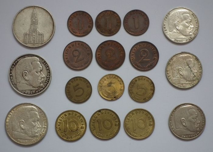 Duitsland - Third Reich - Set of 18 coins (including 6 silver)