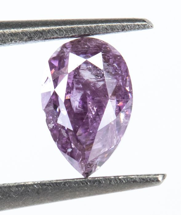 Diamant - 0.27 ct - Naturel Fantaisie Gris-Violet - I2  *NO RESERVE*