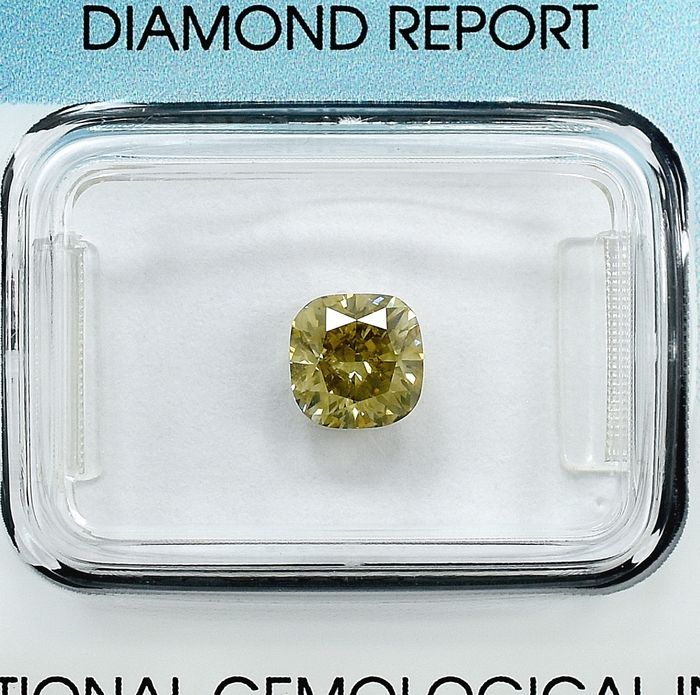 Diamant - 1.16 ct - Coussin - Natural Fancy Intense Brownish Yellow - SI1
