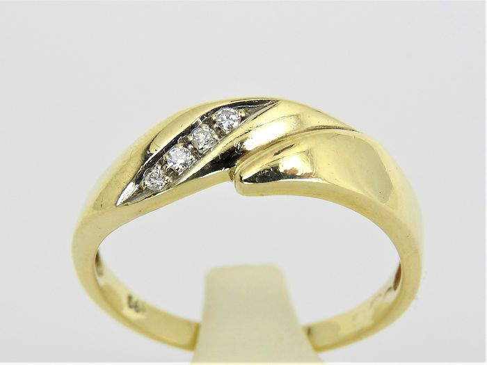14 carats Or jaune - Bague - 0.06 ct Diamant