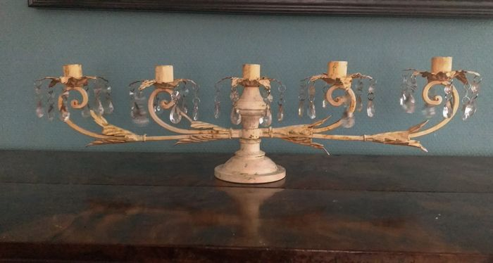 Large table center piece with five candles - ( 60 cm Long) - Iron (cast/wrought)