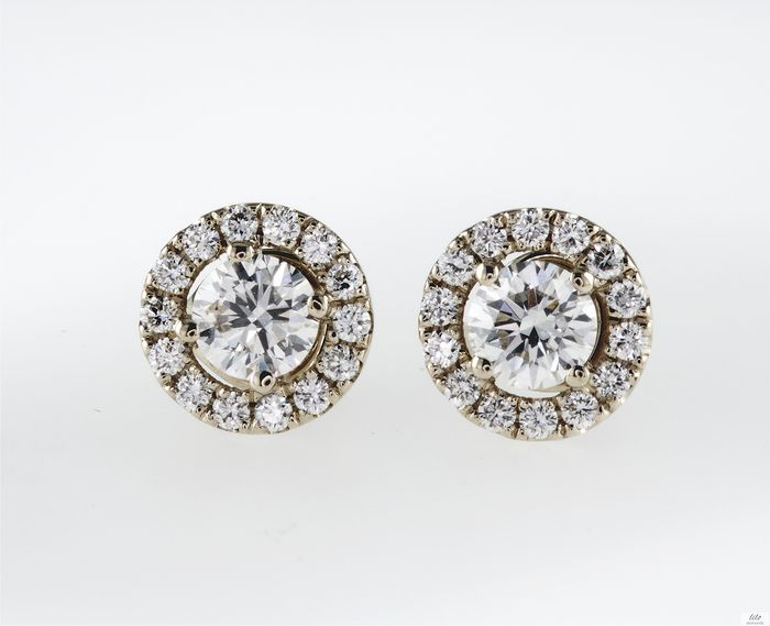 14 carati Oro giallo - Orecchini - 0.77 ct Diamante - D / VS1