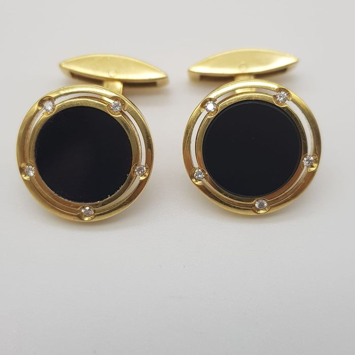 DAMIANI - HRD Certificate - no reserve price - 18 kt. Yellow gold - Cufflinks - 0.10 ct Diamond - Onyx