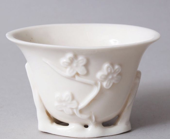 Libation cup - Porcelain - CHINESE BLAN DE CHINE PORCELAIN LIBATION CUP,  - China - 18th century
