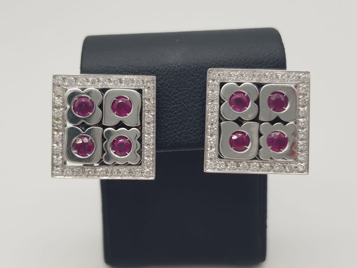 ZANCAN - HRD Certificate - no reserve price - 18 kt. White gold - Earrings - 0.50 ct Diamond - Rubys