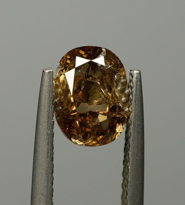 1 pcs Diamant - 1.07 ct - Ovale modifié brillant - fancy deep brown - I3- No Reserve