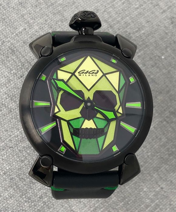 """GaGà Milano - Manuale Bionic Skull 48MM Black PVD Green LIMITED EDITION - 506203S """"NO RESERVE PRICE"""" - Unisex - BRAND NEW"""