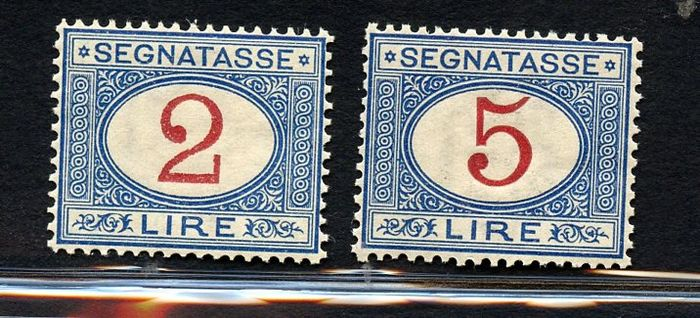 Italy Kingdom 1903 - Postage-due stamps of 2 Lire and 5 Lire - Sassone N.N. Tx 29/30