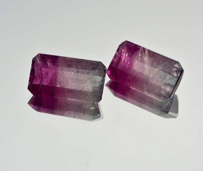 Two-color tourmaline pair (Pink and gray) - 13.39 ct