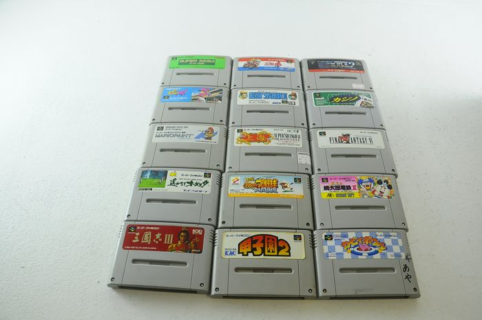 Nintendo Famicon (Jap Nes) - Super Famicom games inc. Mario paint Dragons eye & more e.a (15) - Sem a caixa original