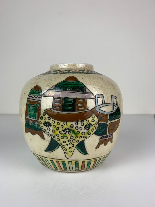 Famille Verte Ginger Jar with Censers and Calligraphy - Porcelain - China - Republic period (1912-1949)