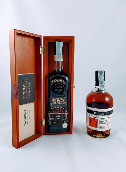 "Diplomático, Saint James - Saint James Single Cask 1998 - Diplomático ""Distillery Collection N.2"" 2013 - 70cl - 2 bottles"