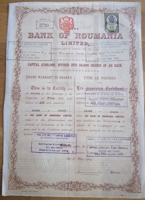 Romania - London / Bucharest - The Bank of Roumania, Limited  - Certificate for 5 Shares of £6 - 1903