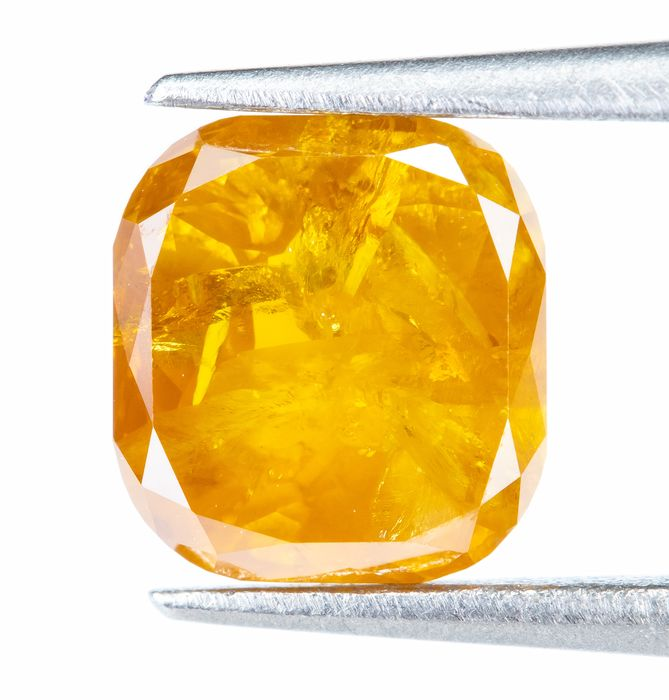 Diamant - 0.85 ct - Naturel Fantaisie INTENSE Orange-Jaune - I2  *NO RESERVE*