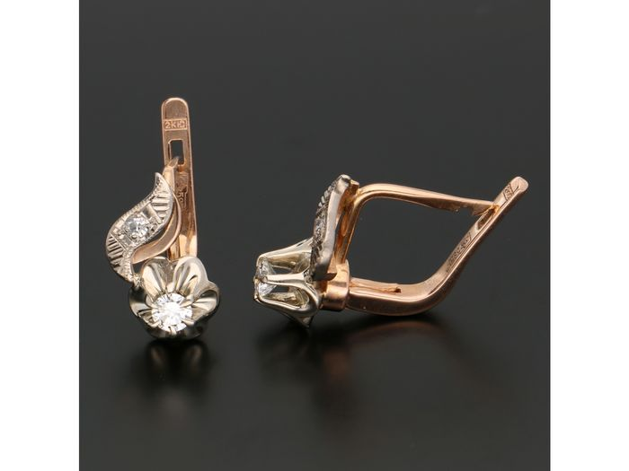 14 kt. Bicolour, Gold - Earrings - 0.26 ct Diamond