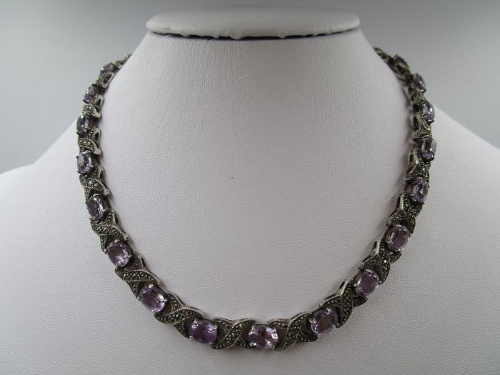 925 Silver - Necklace - 19.75 ct Amethyst - marcasite
