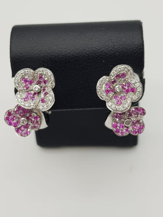 CHIMENTO - HRD Certificate - no reserve price - 18 carats Or blanc - Boucles d'oreilles - 0.22 ct Diamant - Rubys