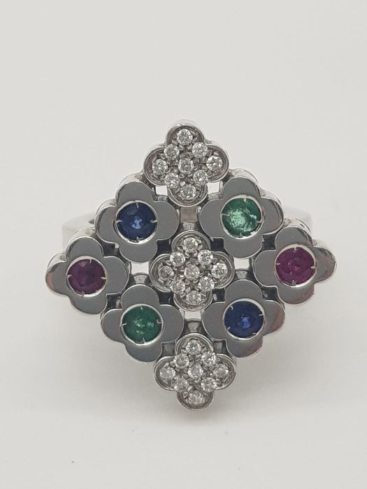 ZANCAN - HRD Certificate - no reserve price - 18 kt. White gold - Ring - 0.22 ct Diamond - Emeralds, Rubys, Sapphires