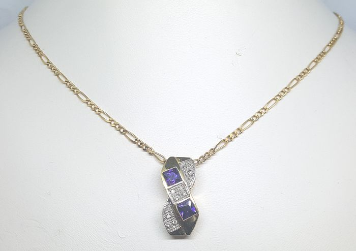 18 kt. Yellow gold - Necklace, Pendant - 1.00 ct Amethyst - Diamond