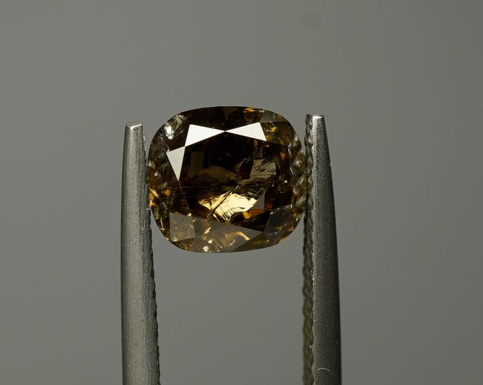 1 pcs Diamant - 1.40 ct - COUSSIN BRILLANT - fancy dark brown - I3- No Reserve