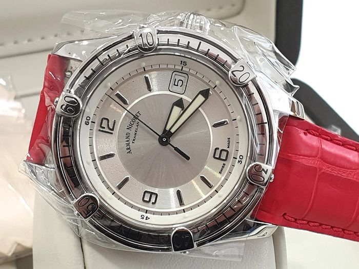 "Armand Nicolet - "" NO RESERVE PRICE "" Tramelan Skeleton Back Case - Automatic Swiss Made - 9060A-AG-P1424TM - Red Genuine Leather Strap  - Men - New 2019"