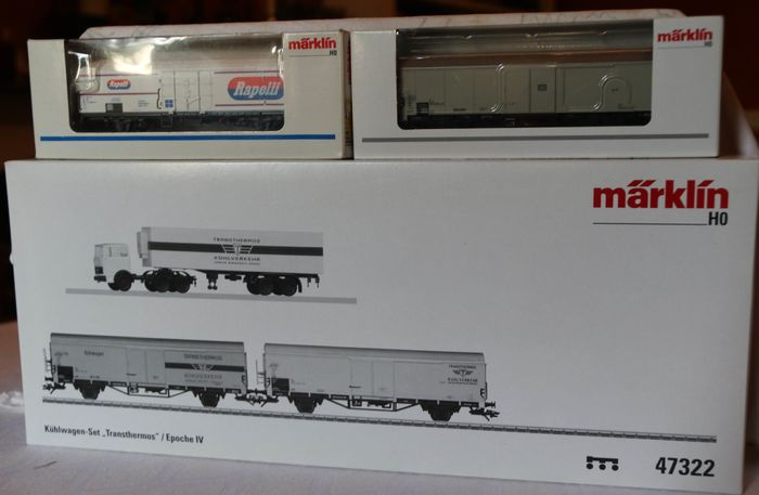 Märklin H0 - 4733/47324/47322 - Freight carriage, Freight wagon set - Set of 2 Refrigerator wagons and truck, with 2 Refrigerator Wagons extra - DB, FS