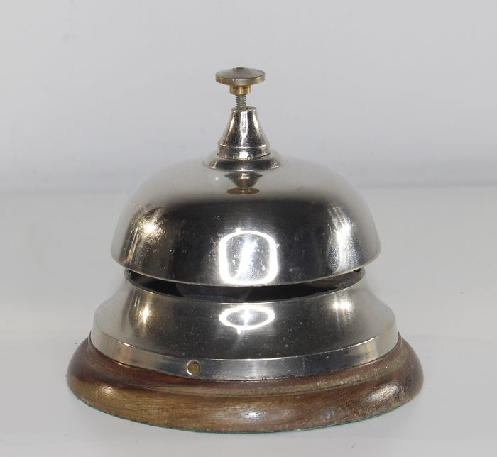 Large hotel bell - Silver plated with wooden base