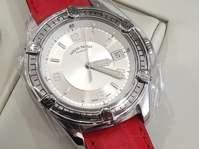 Armand Nicolet - Tramelan Skeleton Back Case - Automatic Swiss Made - 9060A-AG-P1424TM - Red Genuine Leather Strap  - Heren - New 2019