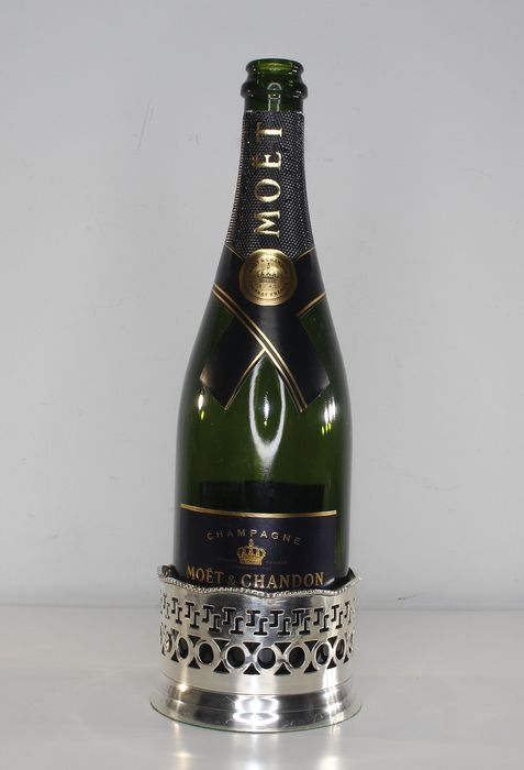 Champagne bottle holder - Silver plated with wood