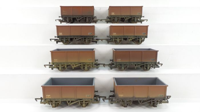 Hornby 00 - R6155 - Freight wagon set - 8 Two-axle trucks, weathered - British Rail