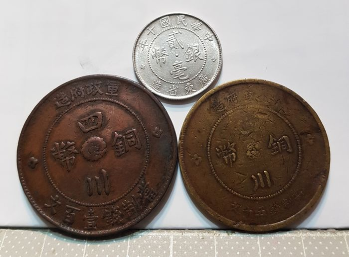 China - Sichuan - Lot comprising 3 coins - Republic of China - 'the military government mint - Han' (2 coins) / 20 Cents silver coin