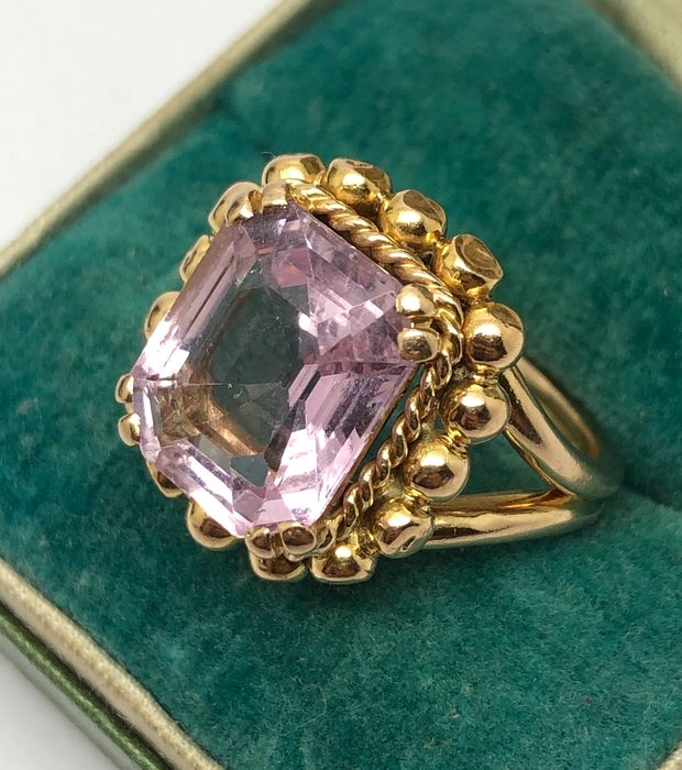18 carats Or jaune - Bague  - 5.00 ct Spinelle Rose