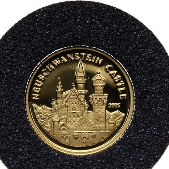 Congo Freestate - 1500 Francs 2005 'Neuschwanstein Castle' with a Certificate of Authenticity - 1,24 gram - Goud